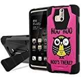 ZTE [Axon Pro] Defender Hybrid Case [SlickCandy] [Black/Black] Armor Shell & Impact Resistant [Kick Stand] [Shock Proof] Phone Case - [Hoo is There Owl] for ZTE [Axon Pro]
