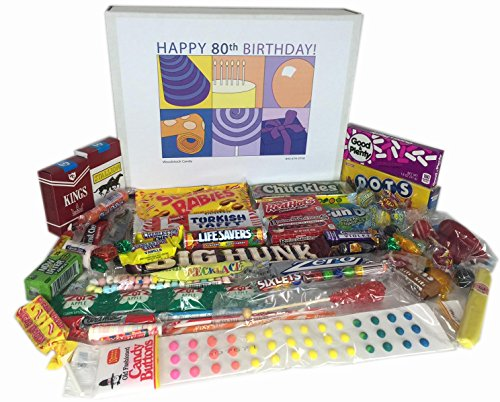 Woodstock Candy 80th Birthday Retro Nostalgic Candy Gift Box for a Man or Woman