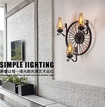 lámpara de pared lámpara de pared rueda Lámpara de pared retrograve industrial en hierro forjado Lámpara de mesa en vidrio coñac Instalación semi incrustada Personalizador creativo Pasillo no: Amazon.es: Iluminación