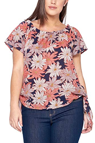 Women's Junior Plus Boat Neck Floral Woven Top W/Double-Sided Tie Red 3X