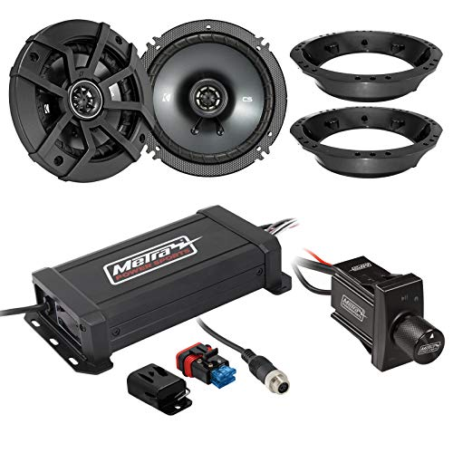 "Metra IPX6 Marine 2-Channel Class D Amplifier, Kicker CS Series 300-Watt 6.5"" Speakers, Bluetooth Wireless Controller, Select 1998-2013 Harley Davidson Speaker Adapters"