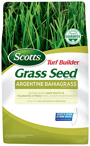 Scotts Turf Builder Grass Seed Argentine Bahiagrass - 10 Lb. | Designed for Full Sun and Heat & Drought Resistance | Establishes Deep Roots | 99.9% Weed Free | Seeds up to 2,000 sq. ft. | 18109