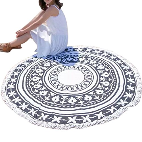 YJYDADA Round Tassel Hippie Tapestry Beach Picnic Throw Yoga Mat Towel Blanket (Black)