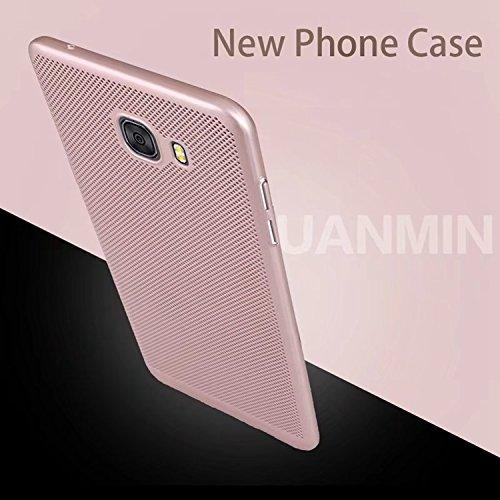 Funda Samsung Galaxy C5 Pro,Alta Calidad Ultra Slim Anti-Rasguño y Resistente Huellas Dactilares Totalmente Protectora Caso de Plástico Duro Case,Cuadrícula Disipación de calor Antideslizante Cover E