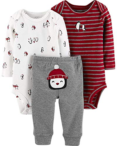 Carter's Baby Boys' 3-Piece Little Character Pants Set (Heather/Red Penguins, 3M)