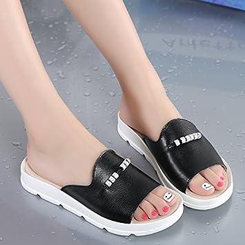OME&QIUMEI Chaussons En Été Noir 39 MEI&S Women's Bout Rond Talon Plat Augmentation Interne Moyen. Chaussures Grande Taille upHEZGF