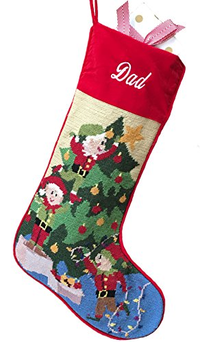 Needlepoint Christmas Stocking: Decorating The Tree -