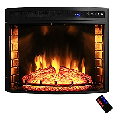 "AKDY 28"" Black Electric Firebox Fireplace Heater Insert Curve Glass Panel W/Remote Azfl-EF06-28r"