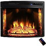 "AKDY 28"" Black Electric Firebox Fireplace Heater Insert Curve Glass Panel W/Remote Azfl-EF06-28r"