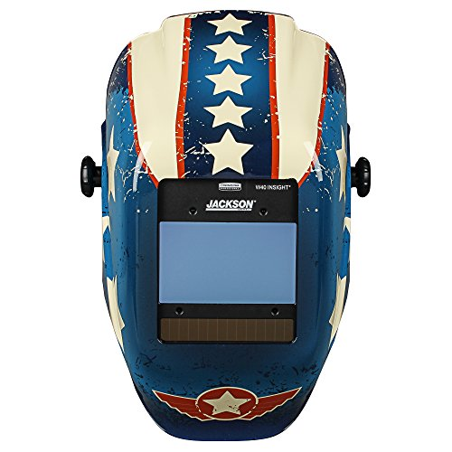 Jackson Safety Insight Variable Auto Darkening Welding Helmet (46101), HLX, 370 Comfortable Headgear, Ultra-Light Shell, Stars & Scars, 1 Helmet by Jackson Safety (Image #1)