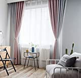 NOMSOCR Blackout Curtains 2 Panels Set Splice Room Drapes Thermal Insulated Solid Grommets Window Treatment Pair Bedroom, Nursery, Living Room, Pink&Grey (Pink&Grey, W100 x L84)