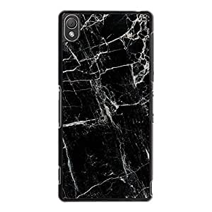 Uniqe Design Marble Phone Case Cover for Sony Xperia Z3 Marble Black Hardshell Protective