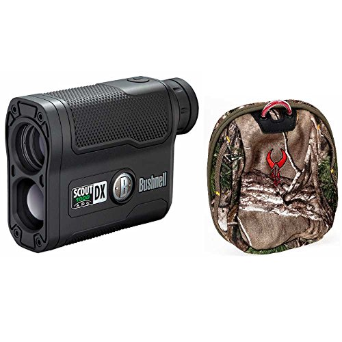 Bushnell Scout DX 1000 ARC 6 x 21mm Laser Rangefinder, Black + Badlands Realtree Camo Rangefinder Case by Bushnell