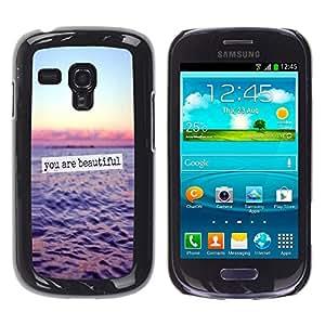 YOYOYO ( NO PARA S3 i9300 ) Smartphone Protección Defender Duro Negro Funda Imagen Diseño Carcasa Tapa Case Skin Cover Para Samsung Galaxy S3 MINI I8190 I8190N - usted es hermoso océano texto cielo del atardecer