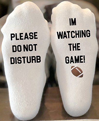 Please Do Not Disturb I'm Watching The Game If You Can Read This Funny Novelty Funky Crew Socks Men Women Christmas Gifts Slipper Socks (Slipper Game)