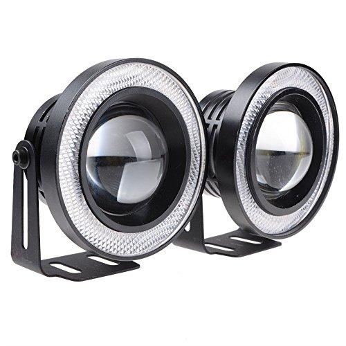 CLKJDZ 2x 2.5'' 30W COB Blue Angel Eyes Halo Ring Car LED Projector Lens DRL Fog Lights