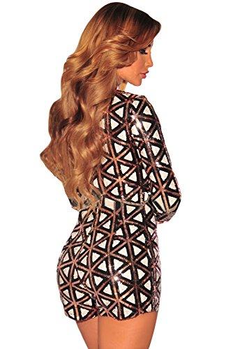 New Frau schwarz weiß & bronze Pailletten Strampler Jumpsuit Spielanzug Catsuit Club Wear Größe S UK 8EU 36