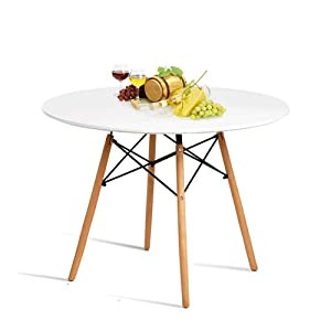 Hyhome Kitchen Dining Table Round Coffee Table Modern Leisure Wood Tea Table Office Conference Pedestal Desk with Natural Wooden Legs and MDF top (White)…