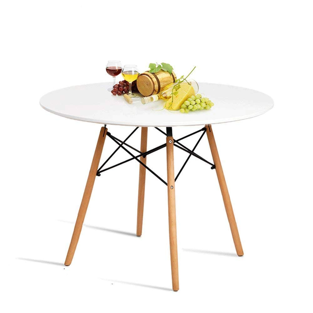HYhome Kitchen Dining Table Round Coffee Table Modern Leisure Wood Tea Table Office Conference Pedestal Desk with Natural Wooden Legs and MDF top (White)