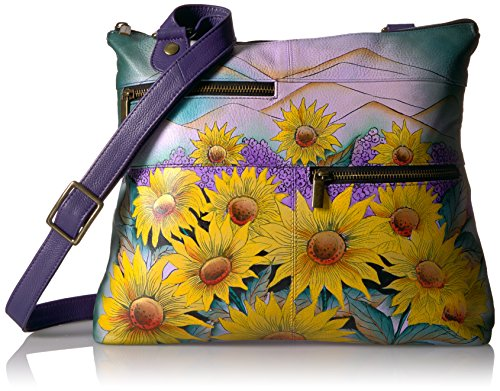 Anna by Anuschka Hand Painted Leather Large Crossbody, HTY-HILLS OF TUSCANY