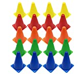 Ateman Set of 20 Plastic Traffic Cones,Multipurpose Sports Agility Markers Activity Cones for Kids Outdoor Indoor Gaming,Training,Festival Events