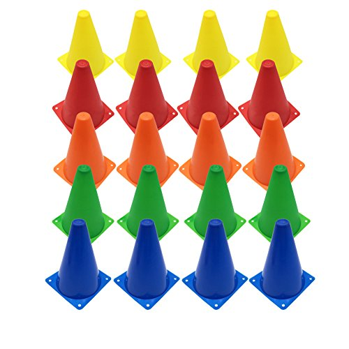 Agility Sports Cone (Set of 20 Plastic Traffic Cones,Multipurpose Sports Agility Markers Activity Cones for Kids Outdoor Indoor Gaming,Training,Festival Events)