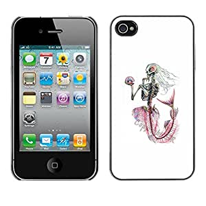 Shell-Star Arte & diseño plástico duro Fundas Cover Cubre Hard Case Cover para Apple iPhone 4 / iPhone 4S / 4S ( White Skeleton Mermaid Captain )