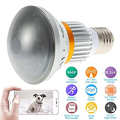 KKmoon B22 5W LED Bulb with Built-in 960P WIFi IP Security Camera Spy Hidden DVR, Motion Detection Email Alert, Cellphone Remote Control Support from KKmoon