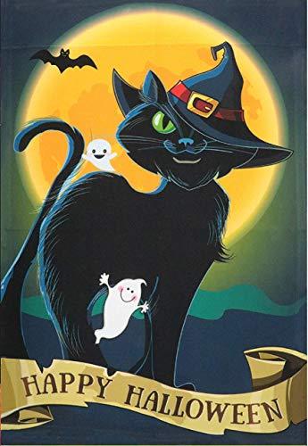 Happy Halloween Black Witch (G128 - Halloween Garden Flag, Happy Halloween Quote with Black Cat Garden Yard Decorations, Rustic Holiday Seasonal Outdoor Flag 12