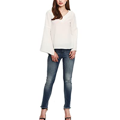 Youtobin Women's White Slim Flared Sleeve Deep V-Neck Chiffon Blouse