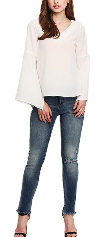 Youtobin Women's White Slim Flared Sleeve Deep V-Neck Chiffon Blouse