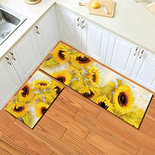 HVEST 2pcs Sunflower Area Rug Set Blooming Yellow Flowers Carpet Non-Slip Runner Rug for Living Room Bedroom Kitchen Floor Mat,(1'4