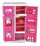 mini fridge kids - Dream Kitchen Mini Refrigerator Pink Toy Fridge Playset for Dolls with Play Food Set