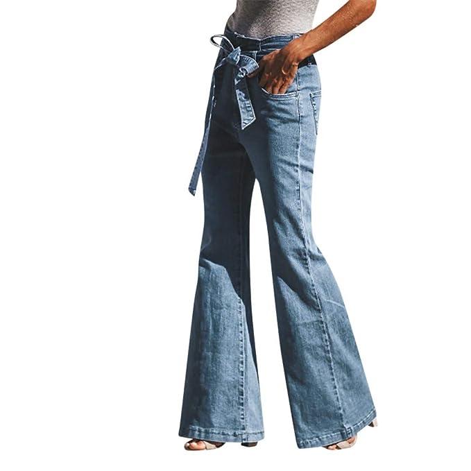 K-youth® Vaqueros Acampanados para Mujer Casual Vaqueros Ceñidos de Tiro Alto Mujer Elástico Holgados Pantalones Mujeres Largo Talla Grande Pantalones ...