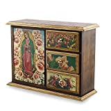 NOVICA Decorative Christianity Decoupage Pinewood Chest, Multicolor, 'Beloved Guadalupe'
