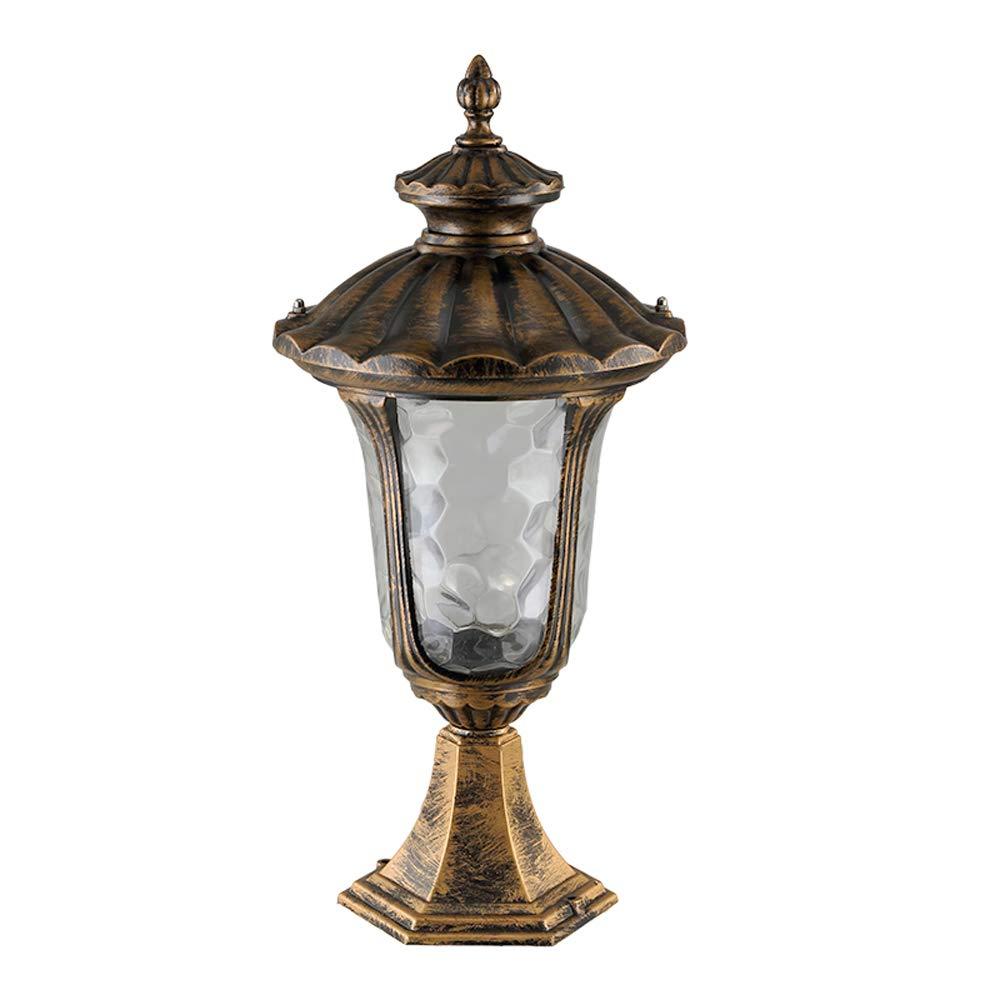 Americano bronzo colonna all'aperto luce in alluminio con lampada da tavolo in vetro IP55 nominale completo impermeabile retro recinzione balcone porta cortile luci da tavolo pilastro