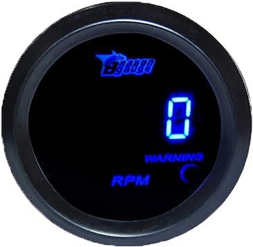 Supmico 52mm Universal Auto Kfz Drehzahlmesser Blau Led Licht Anzeige Digital Rpm Instrument Messgerät Auto