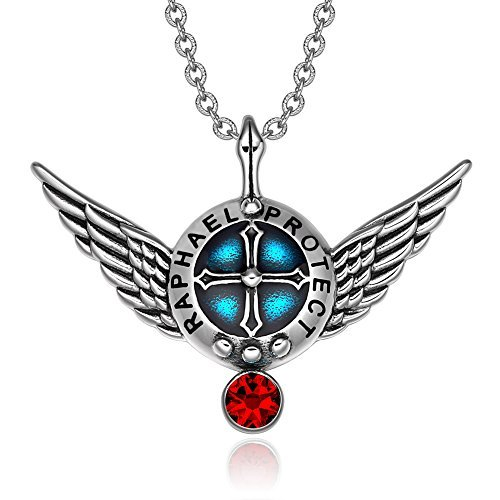 Archangel Raphael Angel Wings Protection Shield Magic Powers Charm Red Crystal Pendant 18 inch Necklace by BestAmulets