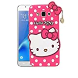 Mezmo 3D Cute Hello Kitty Silicone With Pendant Back Case Cover For Samsung Galaxy J2 Ace