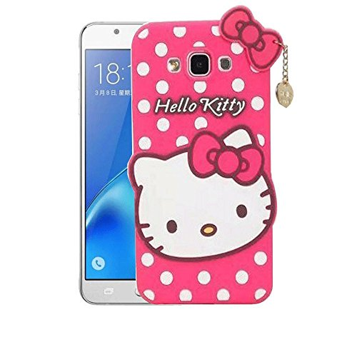 Mezmo 3D Cute Hello Kitty Silicone with Pendant Back Case Cover for Samsung Galaxy J2 Pro  2016