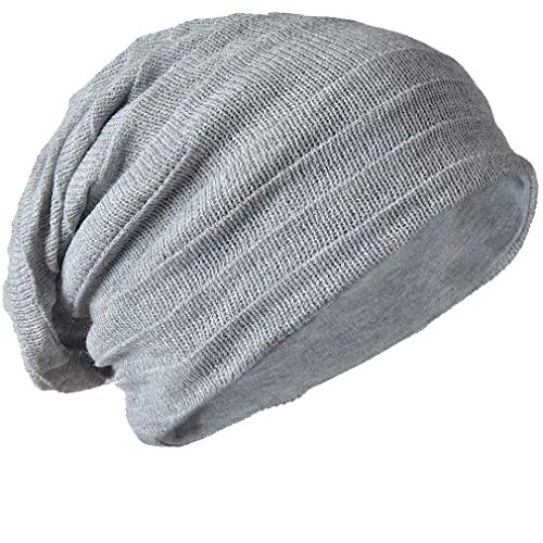 (Z&S Vintage Men Baggy Beanie Slouchy Knit Skull Cap Hat (Light gray))