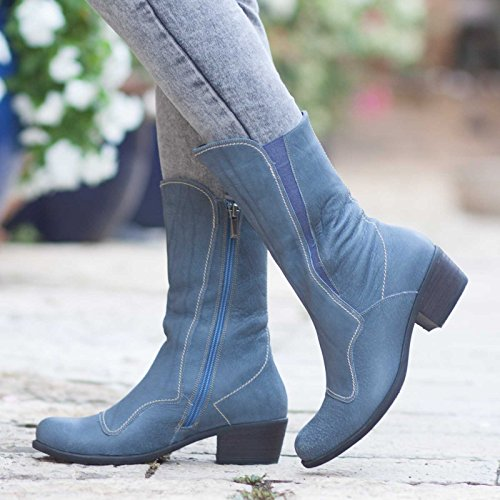 Blue Women's Leather Boots by Bangi Shoes