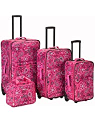 Rockland Luggage Brown Leaf 4 Piece Luggage Set, Pink Bandana, One Size