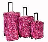 Rockland Luggage Brown Leaf 4 Piece Luggage Set, Pink Bandana, One Size