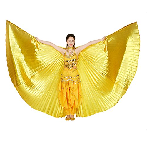MUNAFIE Belly Dance Isis Wings with Sticks for Adult Belly Dance Costume Angel Wings for Halloween Carnival Performance Golden -