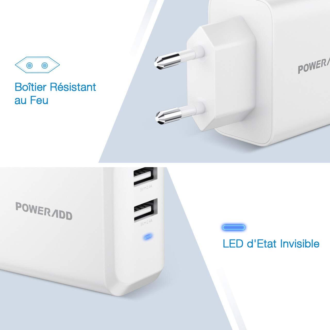POWERADD Chargeur Secteur USB - 24W Deux Ports 5V/2.4A Anti-Chute Petite Taille Transporter à Facile Compatibilité Universelle pour iphone Huawei Xiaomi Samsung iPad Wiko Nexus etc