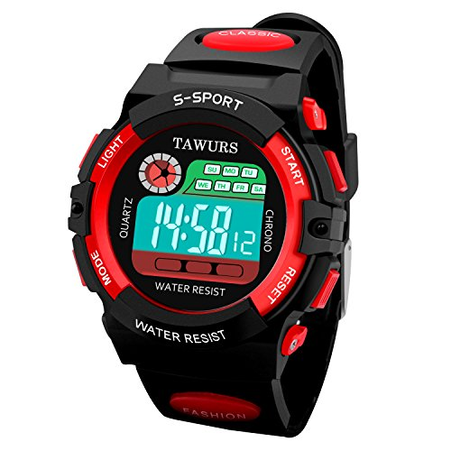 TAWURS Electronic Sports Watches Children 's Watches LED Backlight Digital Wrist Watch