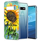 KASOS TPU Case for Samsung Galaxy S10, Yellow Sunflower Watercolor Painting Transparent Ultra Thin Slim Fit Soft Silicone TPU Clear Cover Case Compatible with Samsung Galaxy S10
