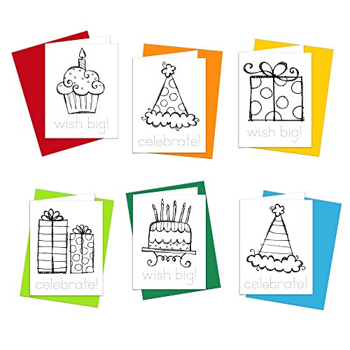 Birthday Cards - Happy Birthday Doodles Greeting Cards for Kids to Color, Trace Letters and Practice Writing - Eco-friendly Stationery for Children - 100% Recycled Note Cards with Envelopes (Blank) - Own Note Cards