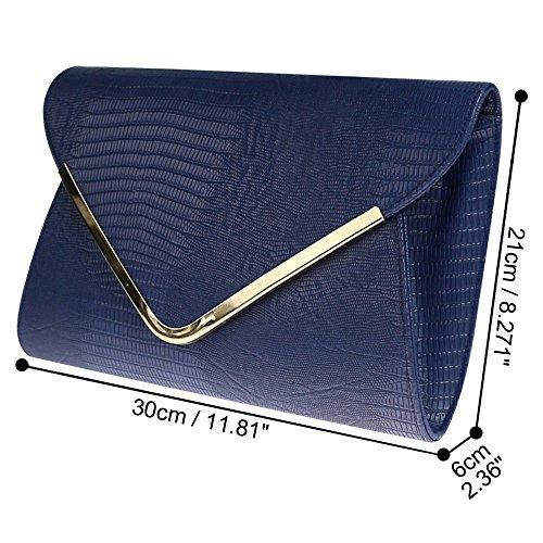Shoulder Wocharm Girly Ladies Bag Bag blue Print Croc Evening Clutch Envelope HandBags Flat Navy Animal rRPxwr